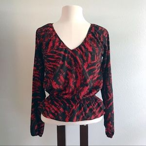 Michael Kors - Black and Red Long Sleeve Blouse